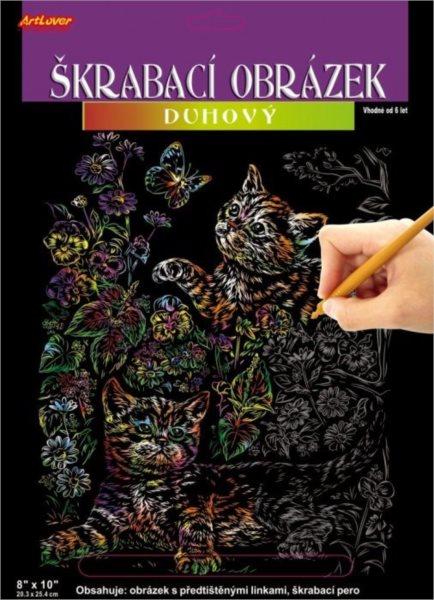 ARTLOVER Škrabací obrázek (duhový) - Kočky