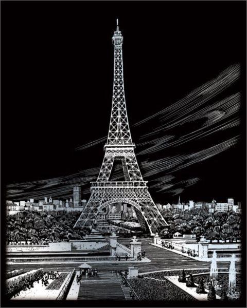 Škrabací obrázek - Eiffelova věž, Francie (stříbrná)