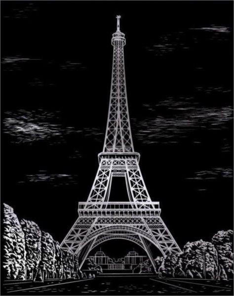ARTLOVER Škrabací obrázek - Eiffelova věž (stříbrná)
