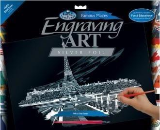 Škrabací obrázek - Eiffelova věž - velký (stříbrný)