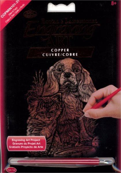 Škrabací obrázek - Pes s kočkou (měděný)