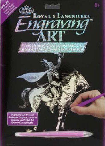 Škrabací obrázek - Rytíř na koni (hologram)