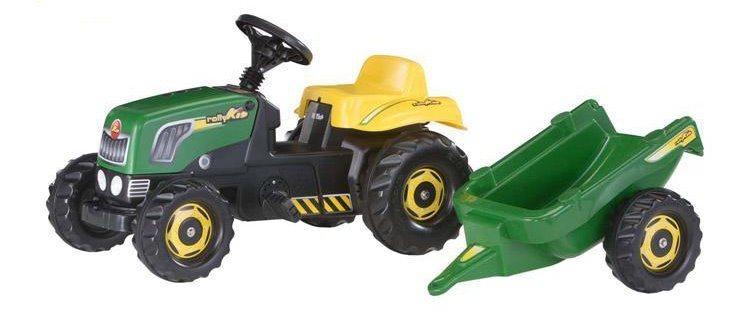 Šlapací traktor Rolly Kid zelený s vlečkou
