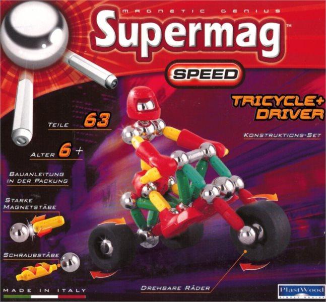 Magnetická stavebnice SUPERMAG Speed: Tříkolka s řidičem - 63 dílků