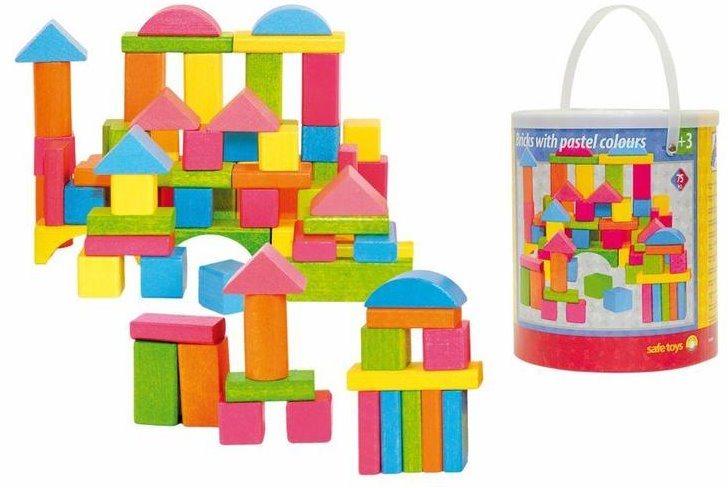 WOODY, Stavebnice: Kostky v kyblíku - pastelové, 75 kostek