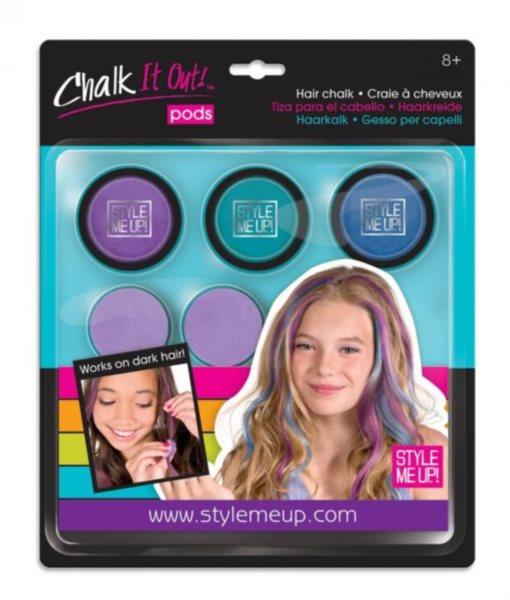WOOKY Style Me Up: Křídy na vlasy 3ks (modrá sada)