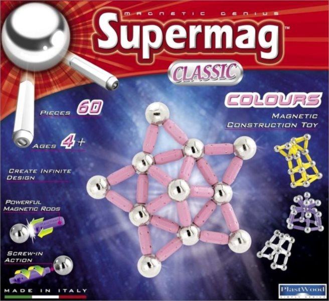 Magnetická stavebnice SUPERMAG - Classic Colours 60 dílků
