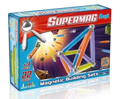 Magnetická stavebnice Supermag MAXI Fluo - 22 dílků