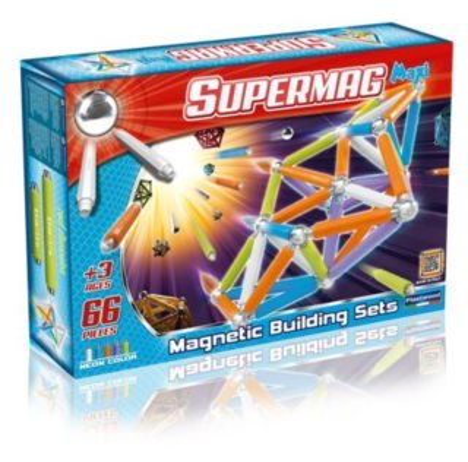 Magnetická stavebnice Supermag MAXI Fluo - 66 dílků