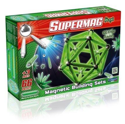 Magnetická stavebnice Supermag MAXI fosforeskující - 66 dílků
