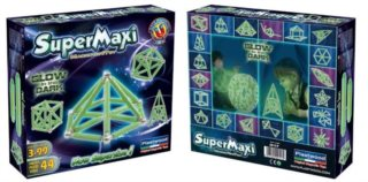 Magnetická stavebnice SuperMaxi Glow in the Dark - 44 dílků