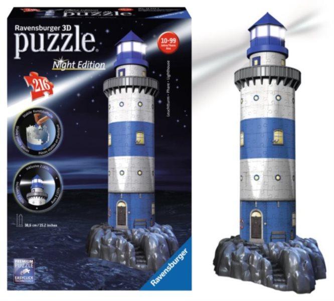 RAVENSBURGER Svítící 3D puzzle Noční edice Maják 216 dílků