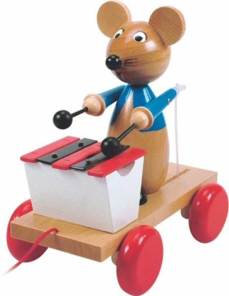 WOODY Tahací myš s xylofónem