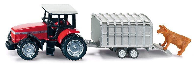 SIKU 1640 Traktor s přívěsem na přepravu dobytka