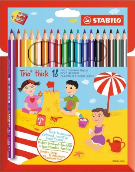 STABILO Trio thick sada 18 pastelek s ořezávátkem