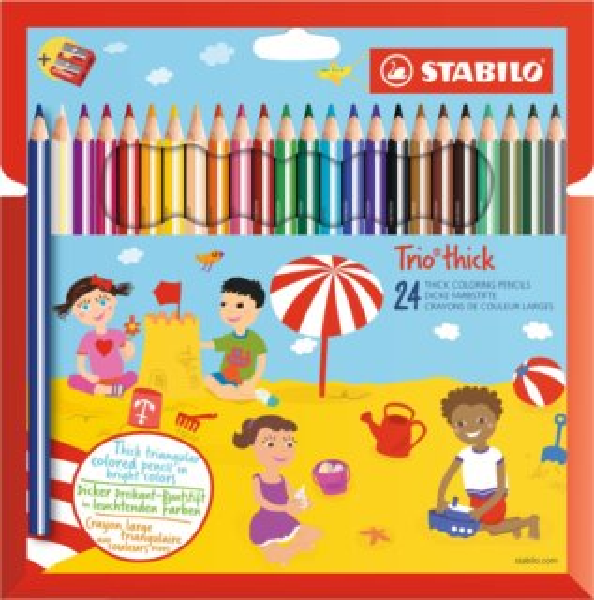 STABILO Trio thick sada 24 pastelek s ořezávátkem