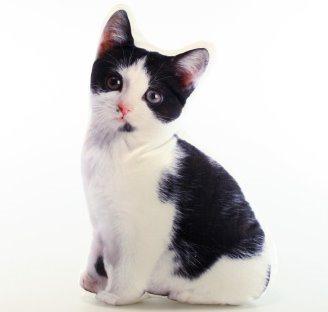 Tvarovaný polštářek Černobílá kočka