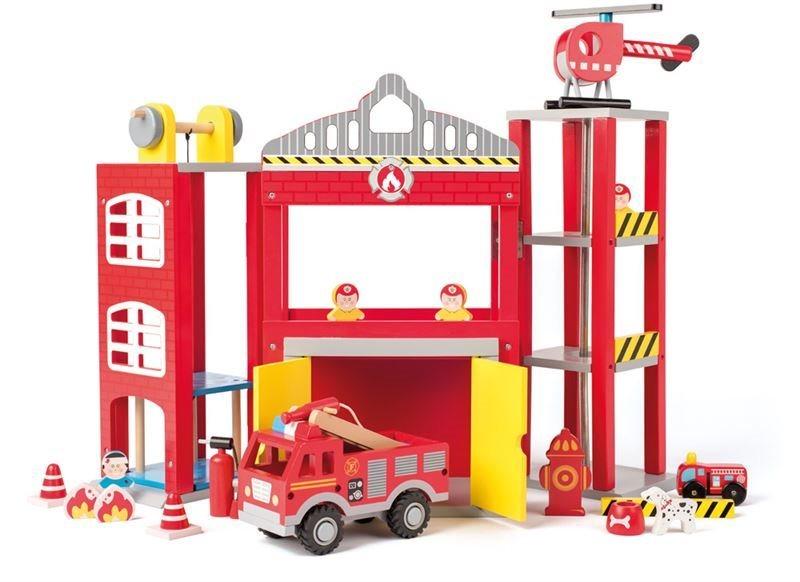 Velká hasičská stanice s auty