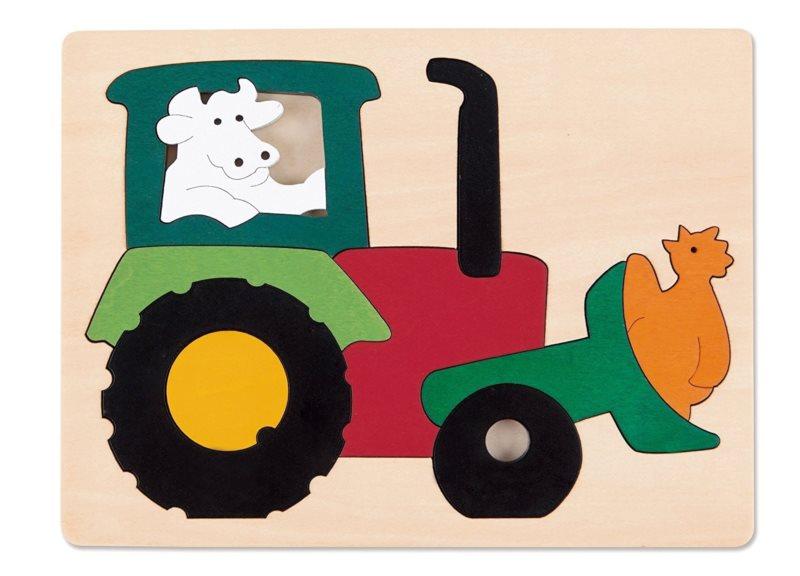 HAPE Vkládací puzzle Traktor