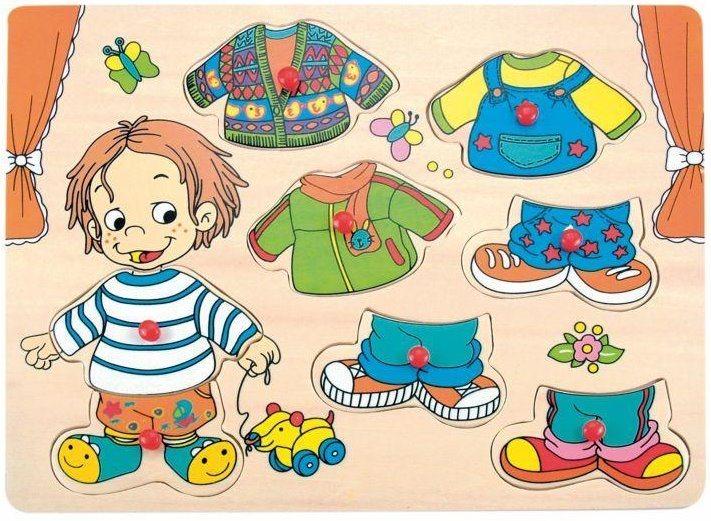 WOODY Vkládačka Oblékání - chlapeček Sebastian