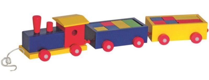 WOODY Vlak barevný se dvěma vagónky