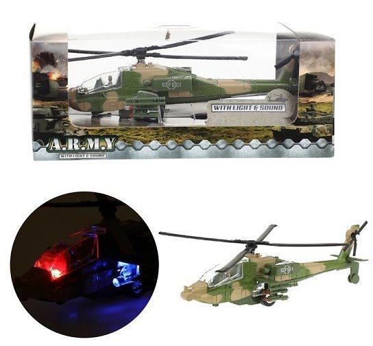 Vojenská helikoptéra se světelnými a zvukovými efekty