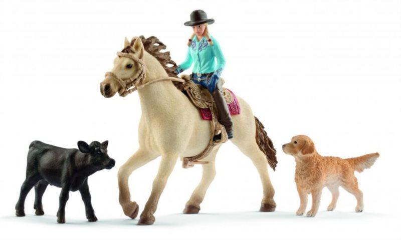 SCHLEICH Westernová jezdkyně se zvířátky