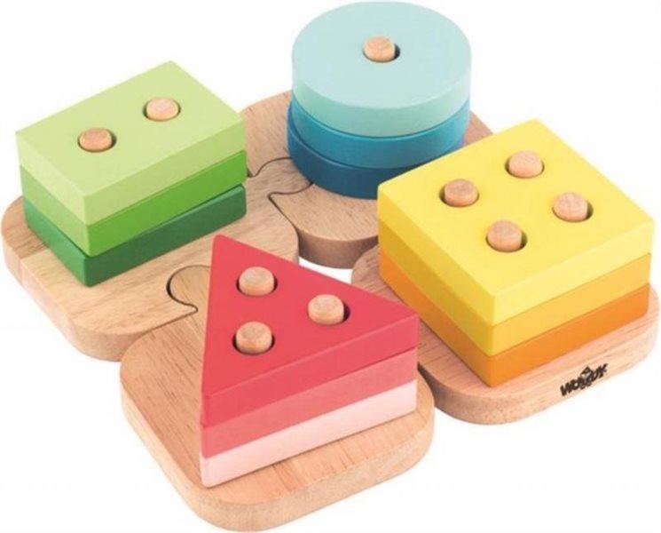 WOODY Základní tvary na puzzle podložce