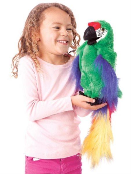 Zelený papoušek (pohyblivý plyšák na ruku), FOLKMANIS PUPPETS