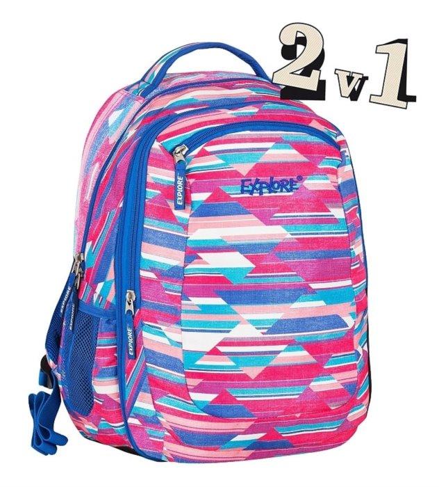 de2e0c686f8 EXPLORE Školní batoh 2v1 VIKI Stripes